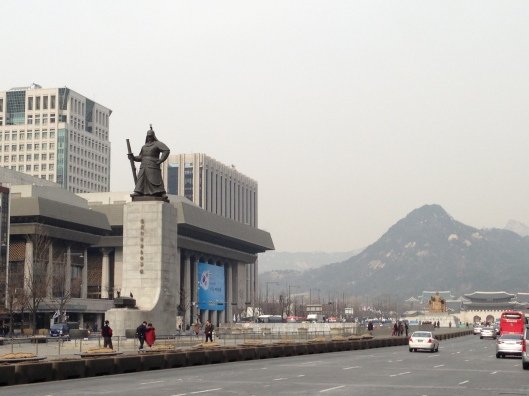 Admiral Yi Sun-Sin on Sejongno with Bukhansan in the background