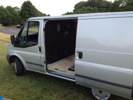 Old van open sliding door