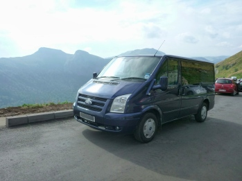 Van in mountains